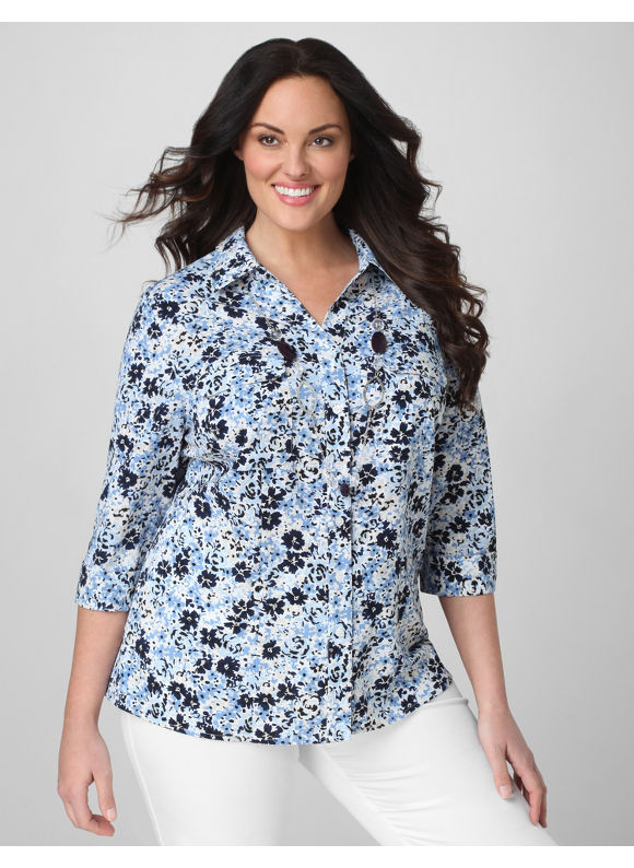 Catherines Women's Plus Size/Dusty Blue English Garden Blouse - Size