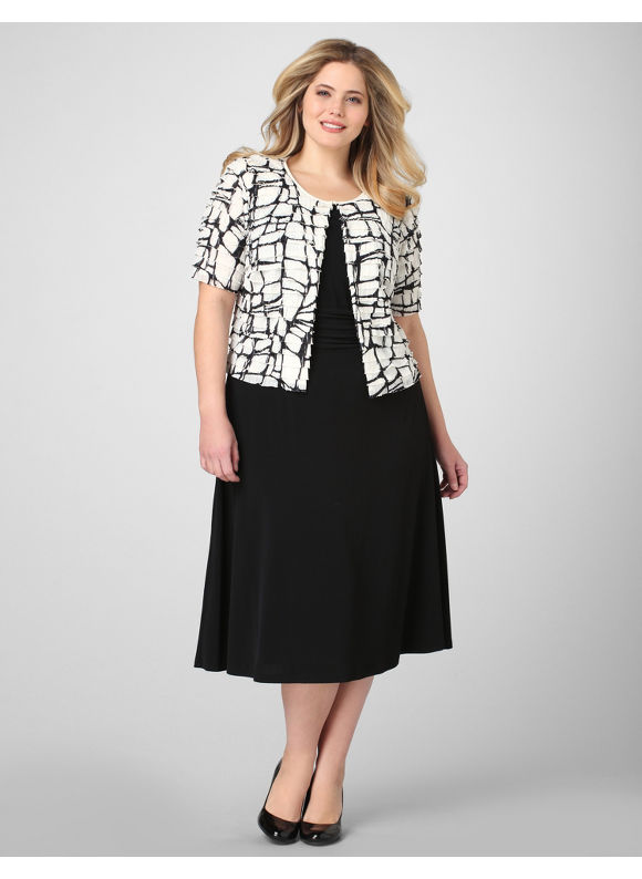 Catherines Women's Plus Size/Black Abstract Art Jacket Dress - Size 2X