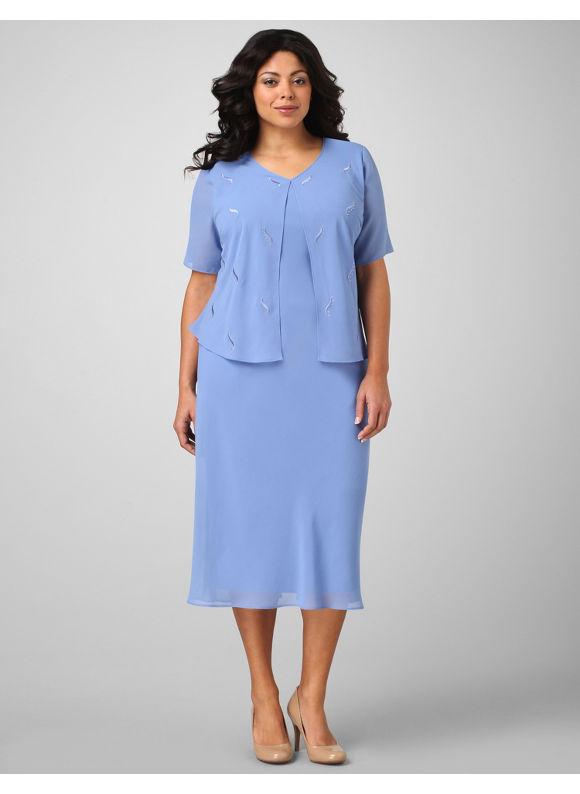 Catherines Women's Plus Size/Bright Periwinkle Flyaway Chiffon Dress -