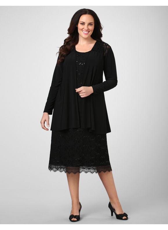 Catherines Women's Plus Size/BLACK Serenity Lace Jacket Dress - Size