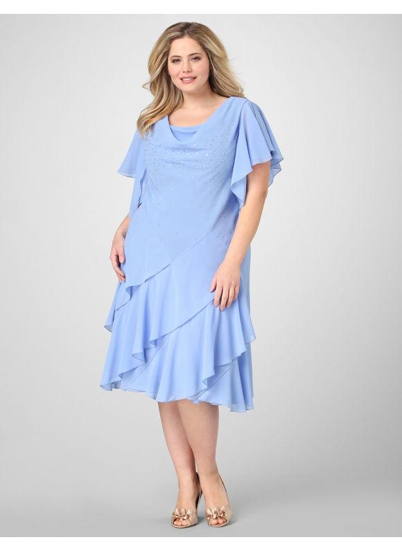 Catherines Women's Plus Size/Periwinkle Flutter Tier Dress - Size 26W