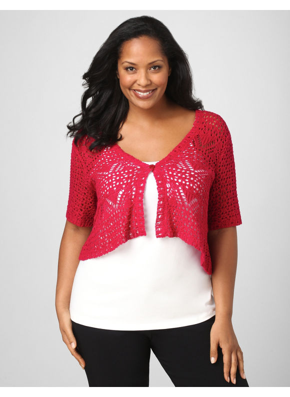 Plus Size/Cerise Pink Crochet Shrug - Size 3X - Plus Size Clothes Shop
