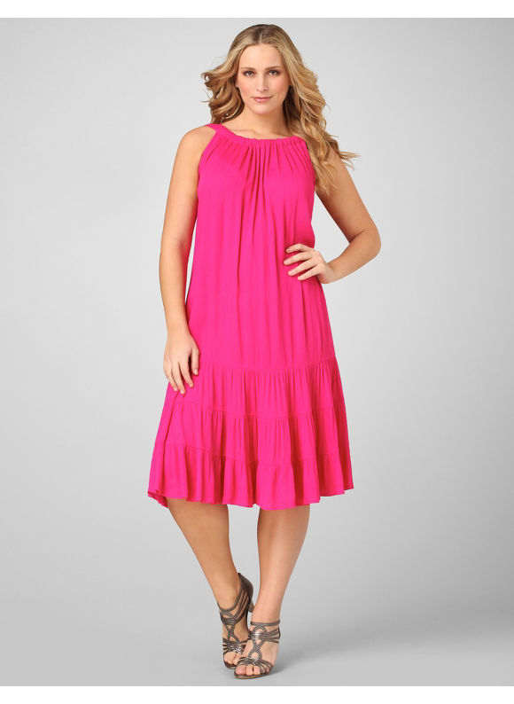 Catherines Women's Plus Size/Pink Essence Triple-Tier Dress - Size 0X