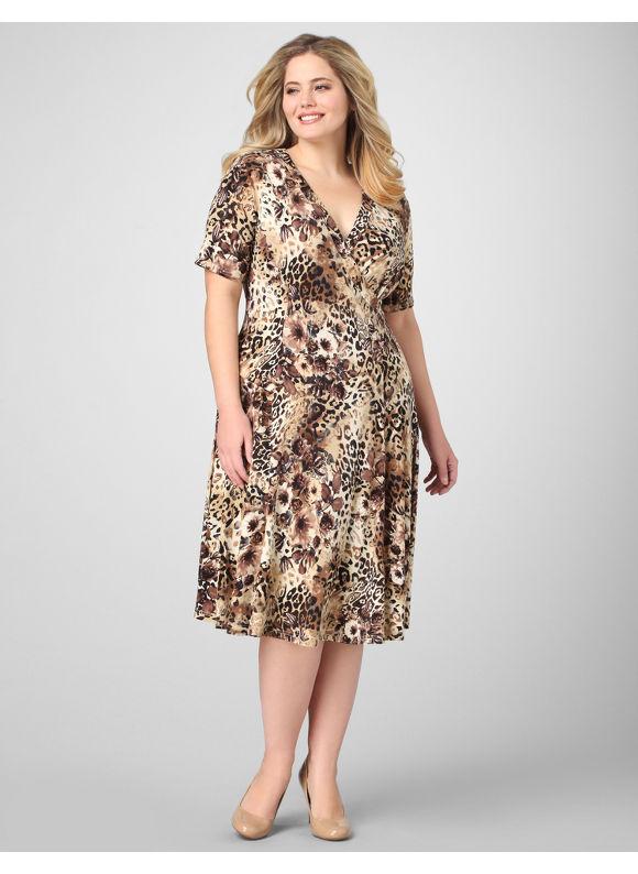 Catherines Women's Plus Size/Brown Animal Medley Dress - Size 22W