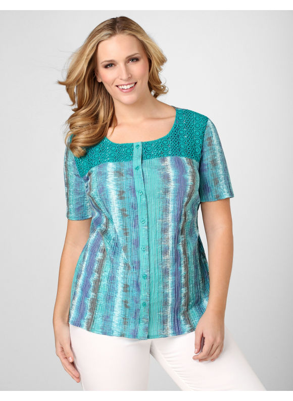 Catherines Women's Plus Size/Dark Blue Crinkle Darling Blouse - Size