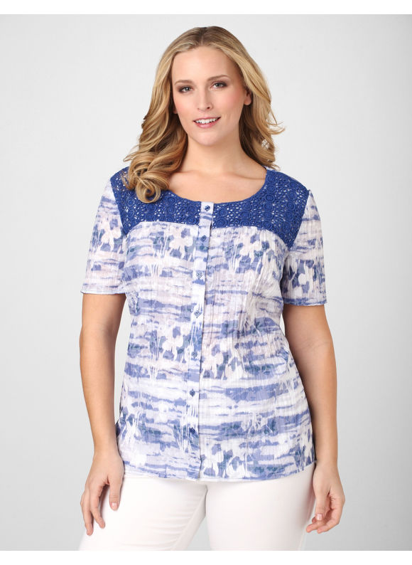 Catherines Women's Plus Size/Blue Crinkle Darling Blouse - Size 1X