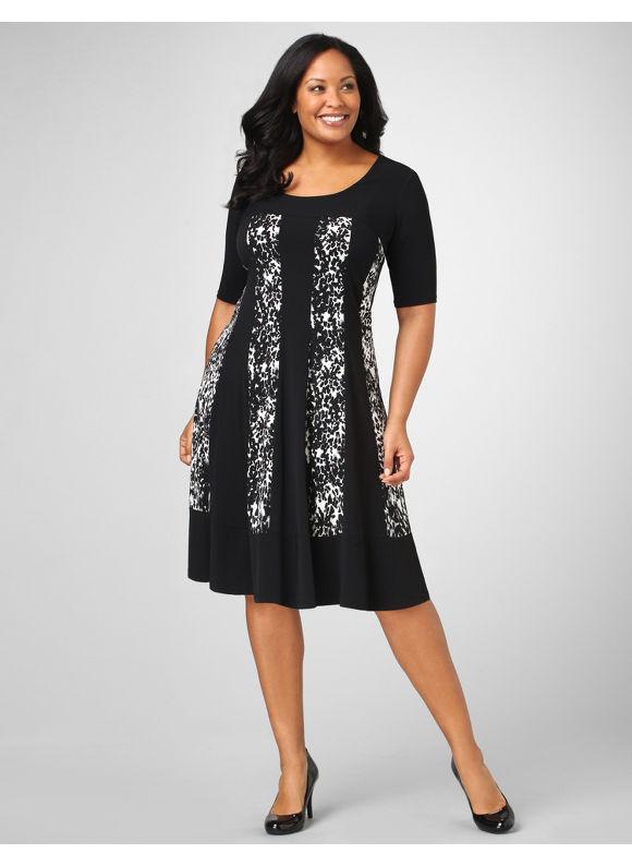 Catherines Women's Plus Size/Black Animal Paneled Dress - Size 0X