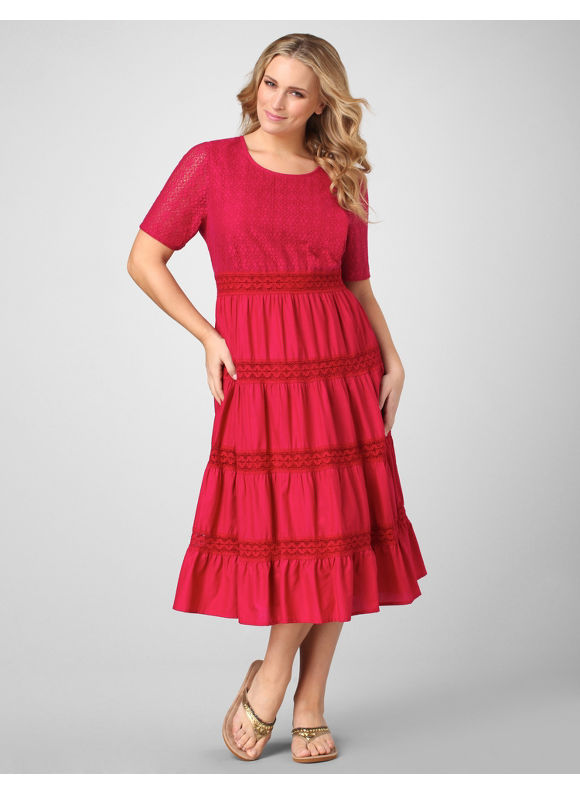 Catherines Women's Plus Size/Dark Rose Tiered Woven Dress - Size 1X