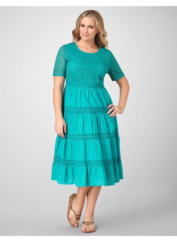 Catherines Women's Plus Size/Teal Tiered Woven Dress - Size 3X