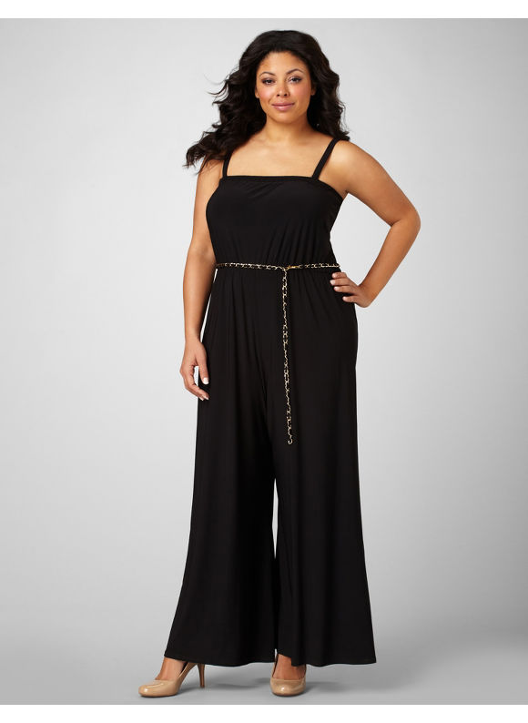 Catherines Women's Plus Size/Black Glamour Chain Jumpsuit - Size 1X