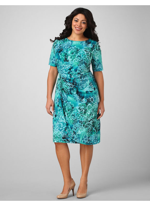 Catherines Women's Plus Size/Bright Turquoise Side-Draped Bella Dress