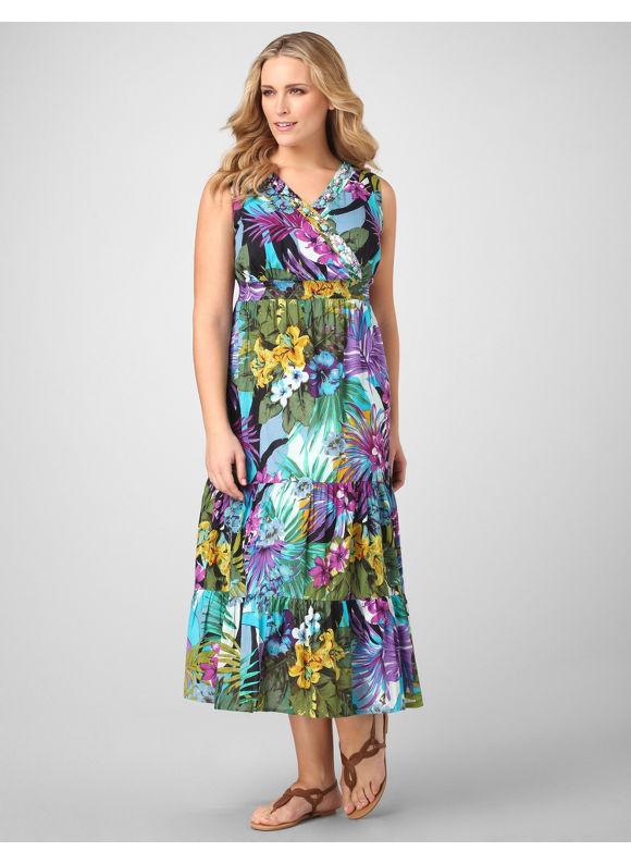 Catherines Women's Plus Size/TURQUOISE Bahama Breeze Maxi Dress -