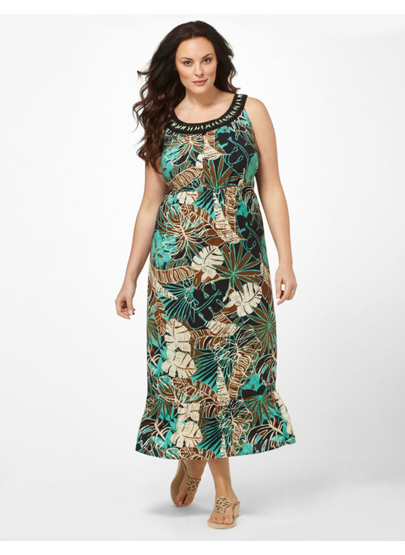 Catherines Women's Plus Size/Bright Aqua Tropical Journey Dress -