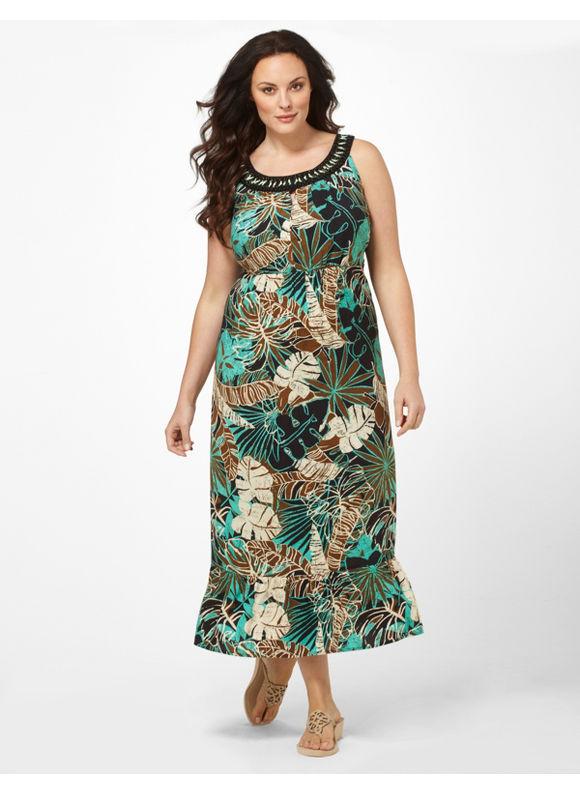 Catherines Women's Plus Size/Bright Aqua Tropical Journey Dress -