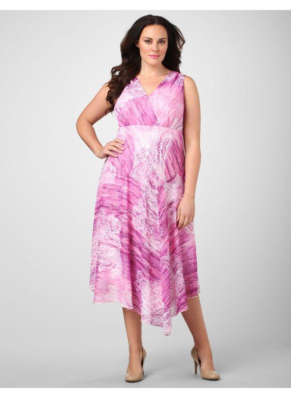 Catherines Women's Plus Size/Purple Painted Paisley Dress - Size 20W