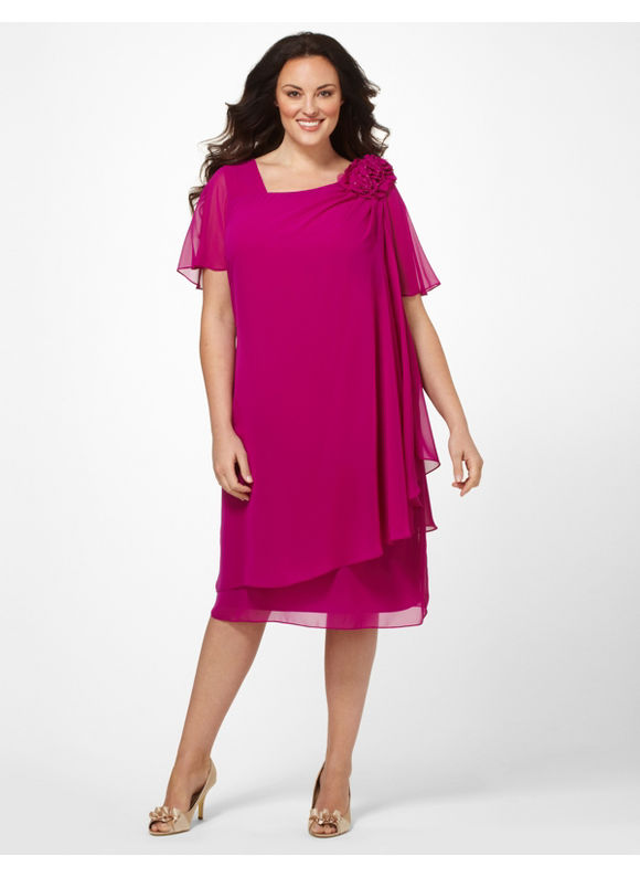Catherines Women's Plus Size/Bright Fuchsia Floral Flutter Dress -
