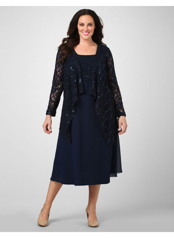 Catherines Women's Plus Size/Navy Lace Enchantment Jacket Dress -