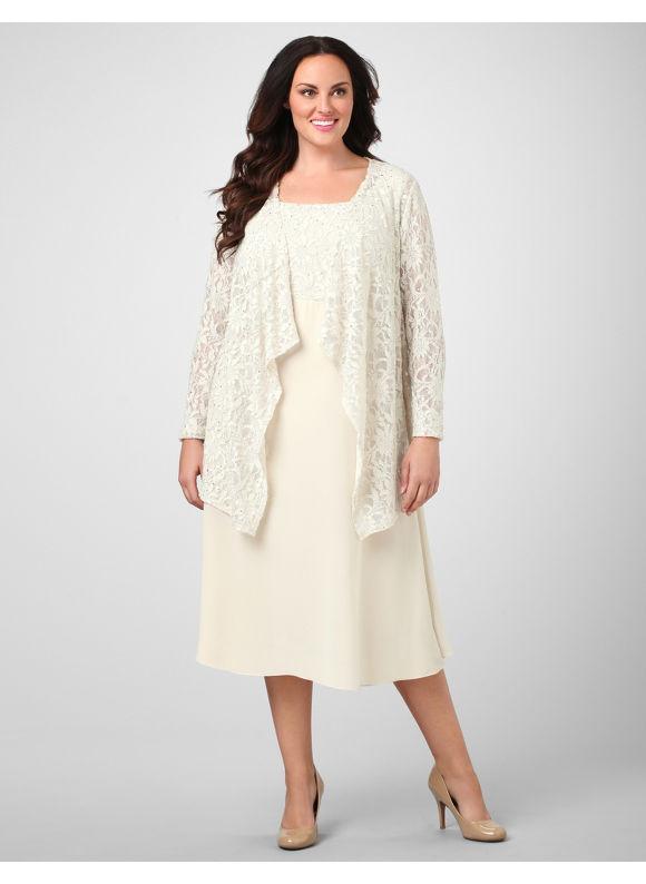 Catherines Women's Plus Size/Beige Lace Enchantment Jacket Dress -