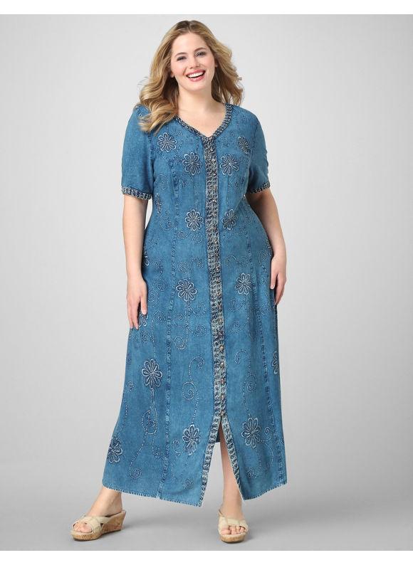 Catherines Women's Plus Size/Mariner Navy Denim Floral Dress - Size 3X