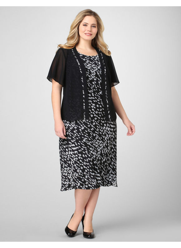 Catherines Women's Plus Size/Black Dotted Georgette Jacket Dress -