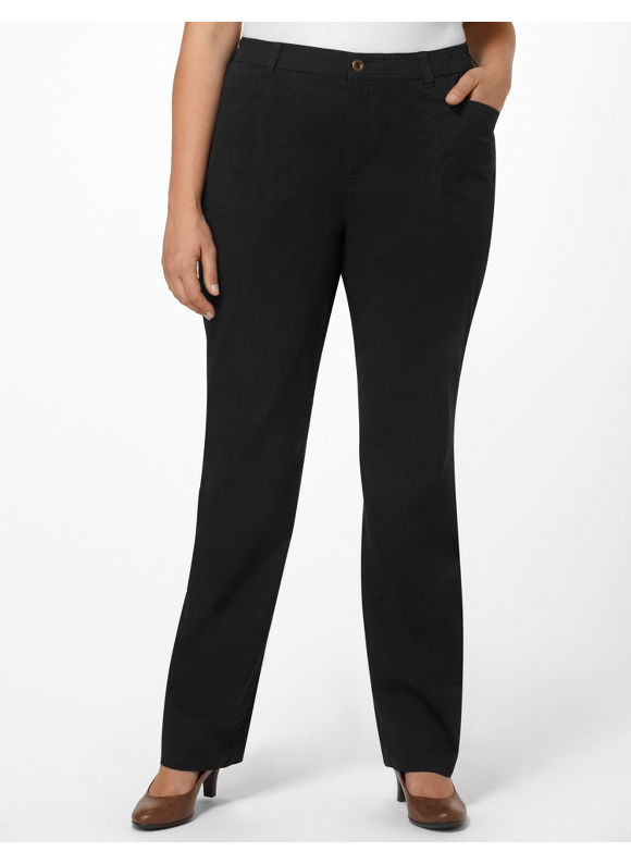 Catherines Womens Plus Size/Black Stretch Twill Pant - Size 24W