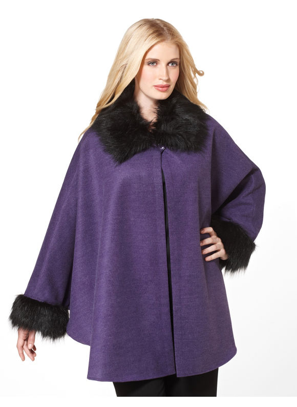 Catherines Women's Plus Size/Purple Wool Capelet Jacket - Size 2X