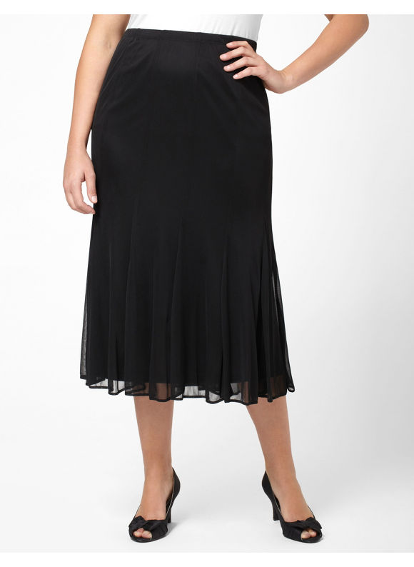 Image of Catherines Plus Size Delicate Grace Skirt  Womens Size 1X2X Black