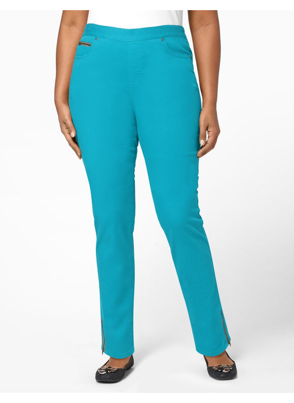 Catherines Women's Plus Size/Caribbean Sea Ankle Zip Pant