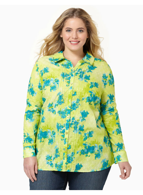 Catherines Women's Plus Size/Lime Swiss Dot Buttonfront