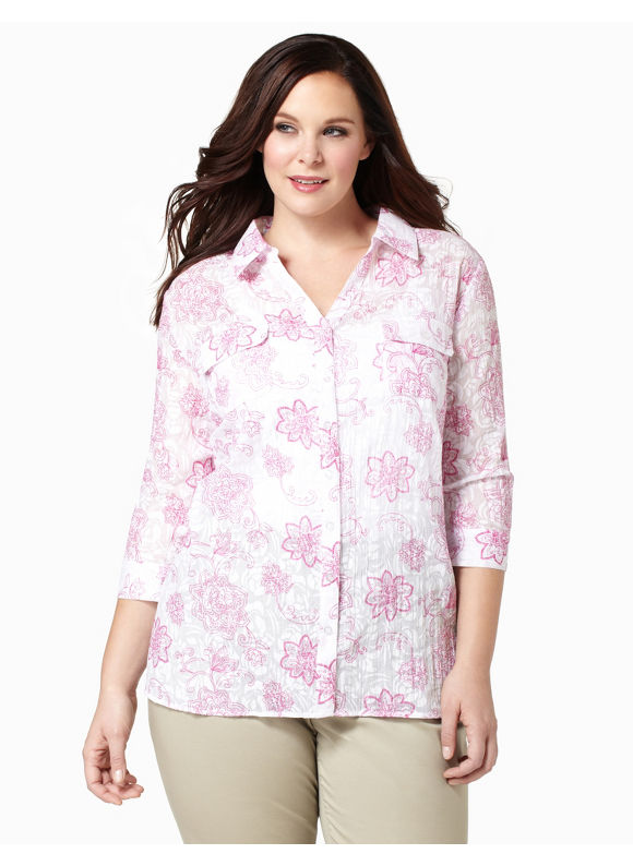 Catherines Womens Plus Size/Dynamo Sheer Stencil Blouse - Size 2X