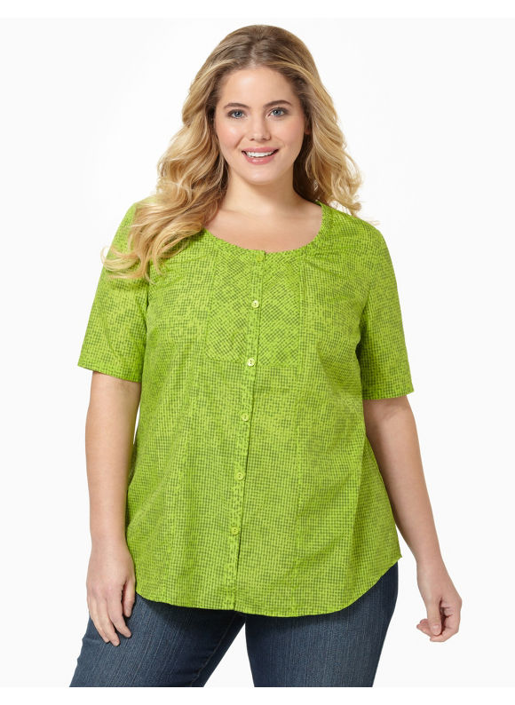 Catherines Womens Plus Size/Lime Gingham Peasant Top - Size 3X