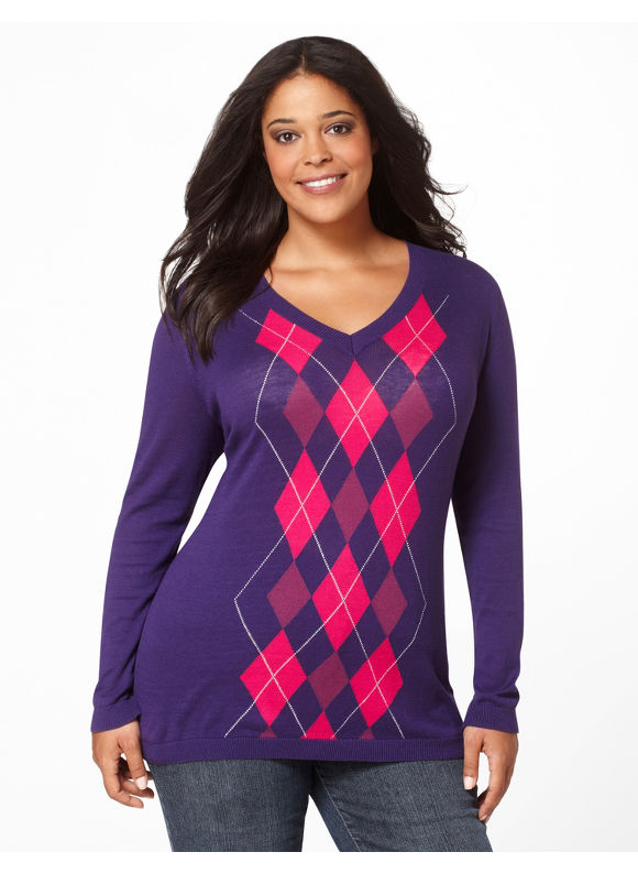 Catherines Womens Plus Size/Purple Argyle V-Neck - Size 2X