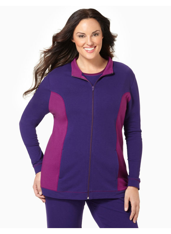 Catherines Womens Plus Size/Purple Colorblock Active Jacket - Size 2X