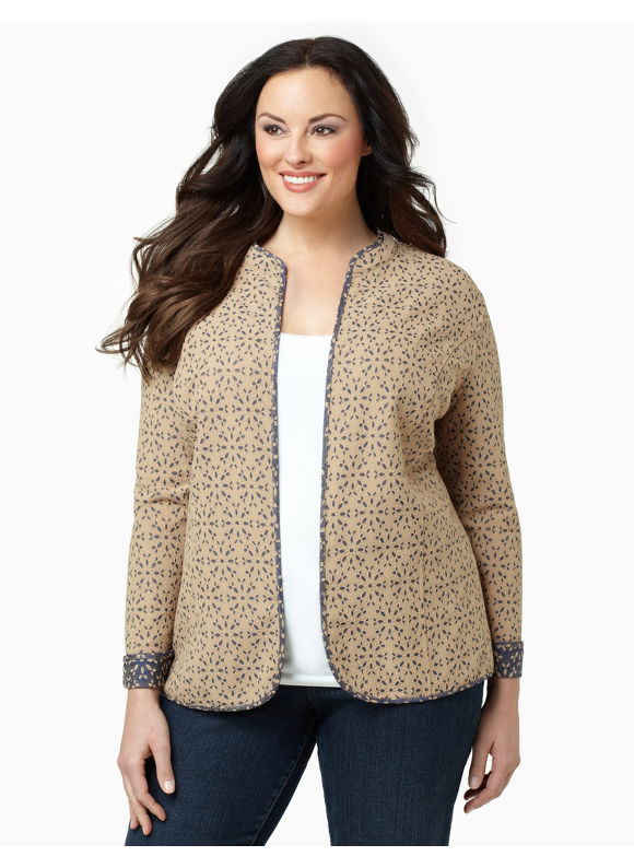 Catherines Womens Plus Size/Safari Khaki Dual Nature Jacket - Size 1X
