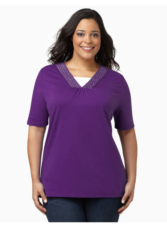 Catherines Womens Plus Size/Regal Purple Glitter Crochet V-Neck -