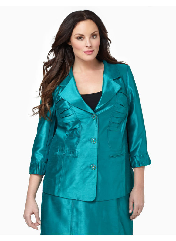 Catherines Womens Plus Size/Fanfare Silky Ruched Jacket - Size 3X