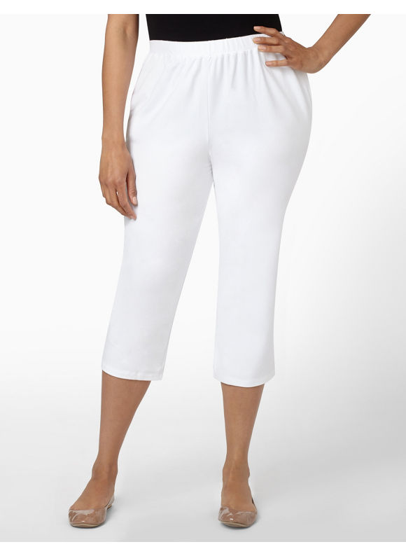 Image of Catherines Plus Size Suprema Knit Capri  Womens Size 0X White