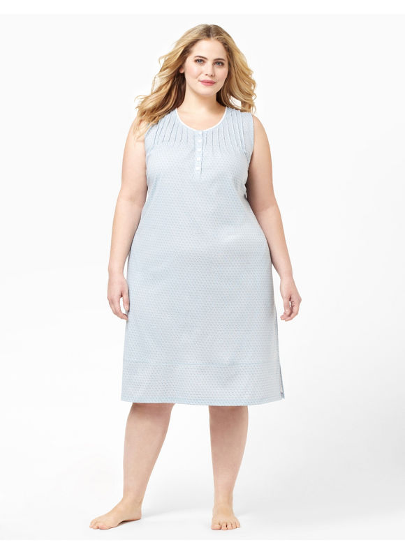 Catherines Womens Plus Size/Dusty Blue Pindot Gown - Size 2X