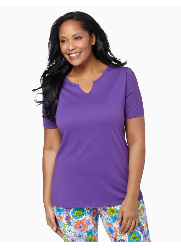 Catherines Womens Plus Size/Bright Plum Eyelet Sleep Tee - Size 1X