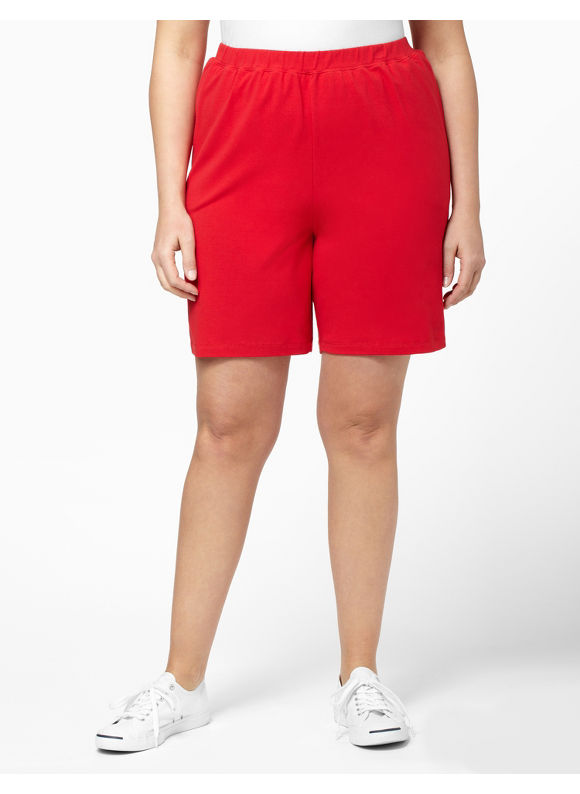 Catherines Women's Plus Size/Neon Red Suprema Knit Short