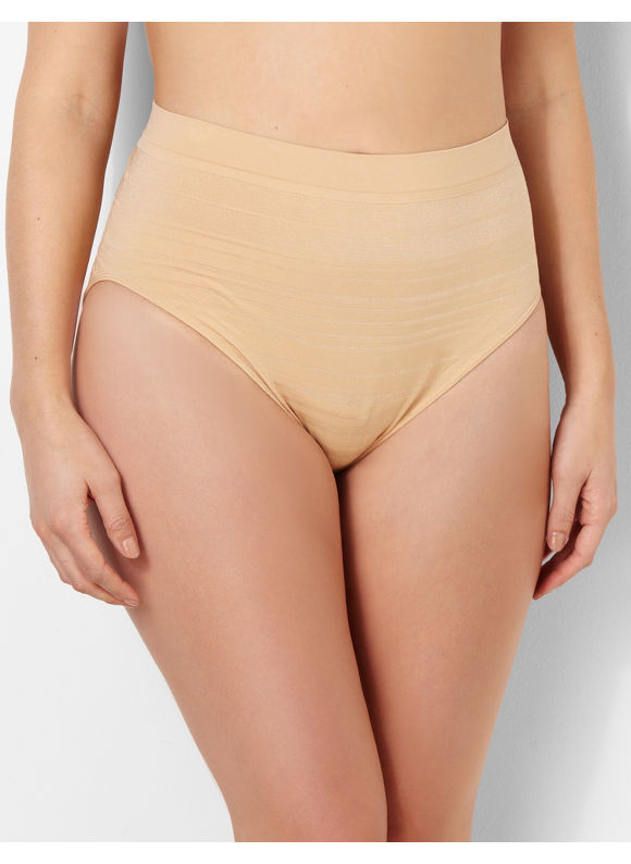 Image of Catherines Plus Size Shadow Stripe Seamless HiCut Brief  Womens Size 12 Nude