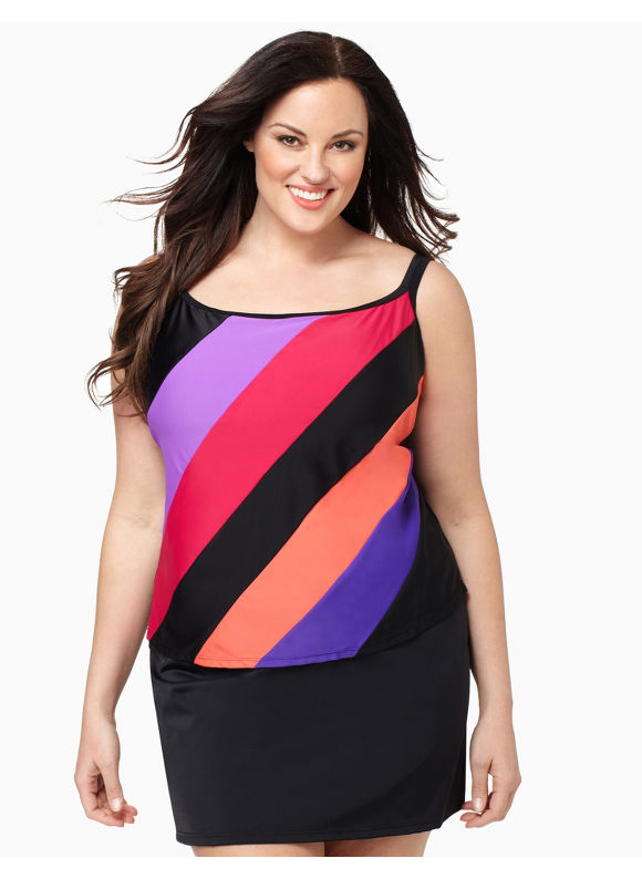 Catherines Women's Plus Size/Black Colorblock Swim Tank