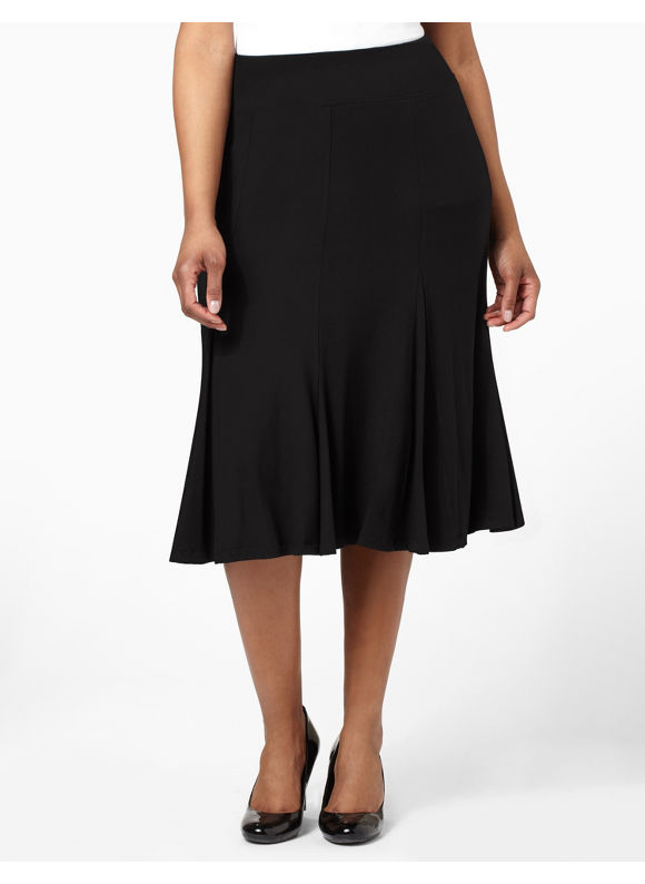 Catherines Women's Plus Size/Black Soft Flowing Skirt