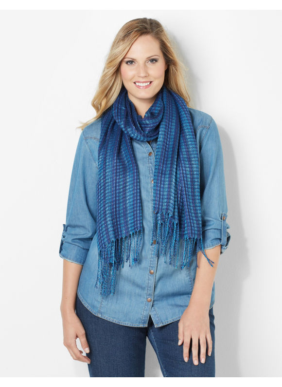 Catherines Plus Size Metallic Shimmer Scarf - Women's Size One Size, French Blue