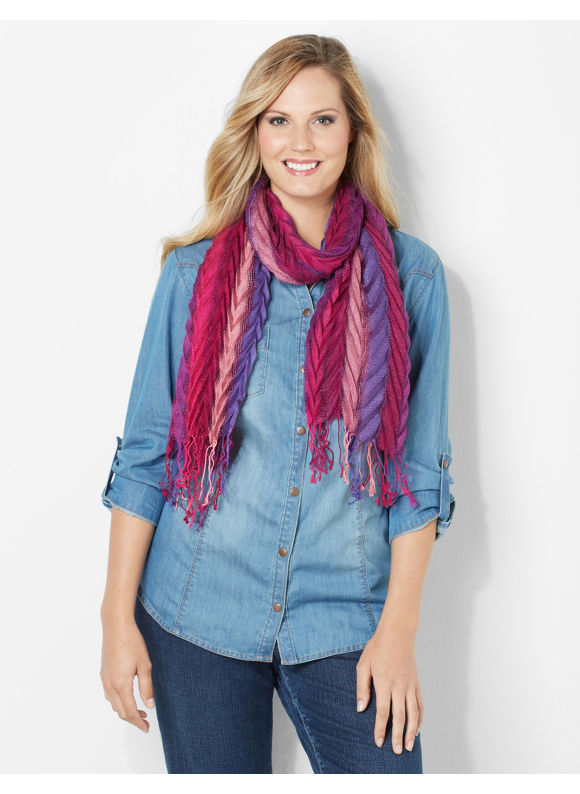 Catherines Plus Size Chevron Scarf - Women's Size One Size, Romantic Pink,French Blue