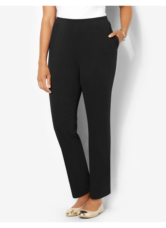 Suprema Essentials by Catherines Plus Size Suprema Knit Pant (Classic Colors), Women's, Size: 0X, Black - Catherines ~ Classic Plus Size Clothes