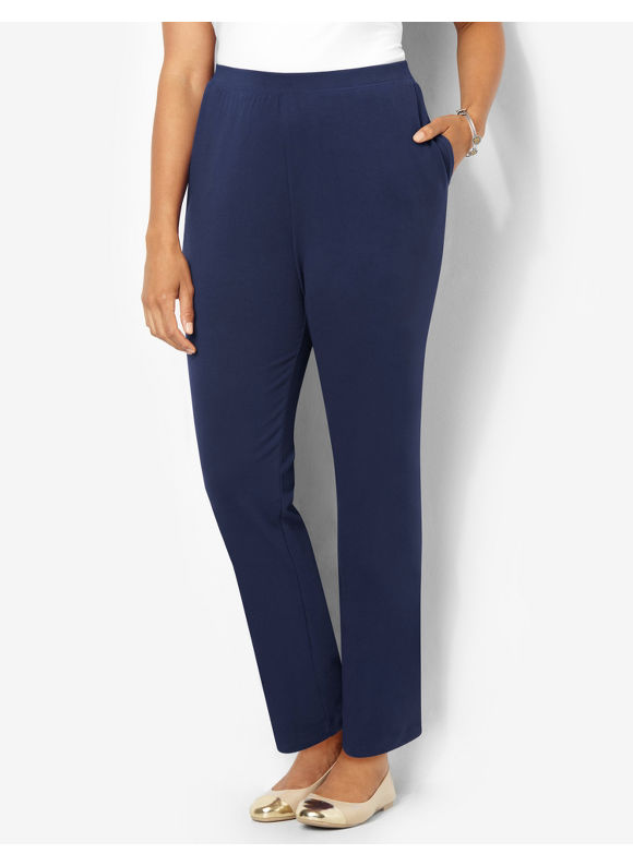 Suprema Essentials by Catherines Plus Size Suprema Knit Pant (Classic Colors), Women's, Size: 0X, Mariner Navy - Catherines ~ Classic Plus Size Clothes