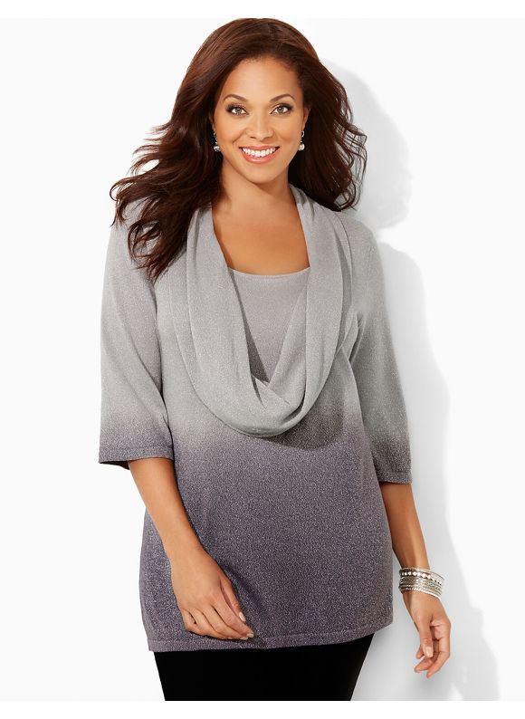 Catherines Plus Size Layered-Look Cowlneck Sweater - Women's Size 0X, Silver Shimmer