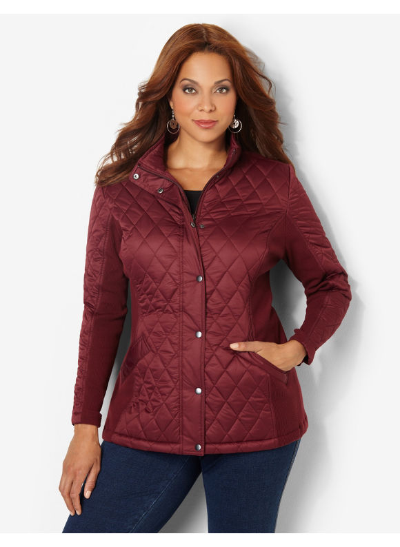 Catherines Plus Size East Side Quilted Coat - Merlot