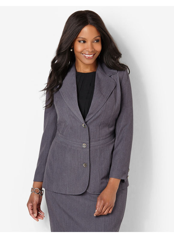 Catherines Plus Size Polished Jacket - Women's Heather Gray
